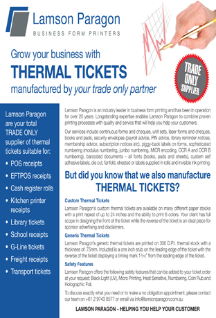 thermal ticket media release print nt